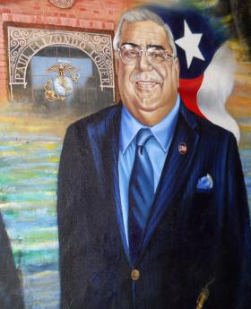 San Antonio artist Robert Ytuarte painted Elizondo's portrait for the famous wall depicting other figures of cultural significance to the Latino community.