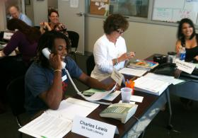 Charles Lewis from SA Youth Literacy takes pledges over the phone at the spring pledge drive. Pledge drive is always a lot of fun for TPR staff and volunteers alike.