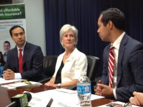 With Republican leadership doing all they can to make ACA rollout difficult in Texas, U.S. HHS Secretary Kathleen Sebelius has joined San Antonio Mayor Julián (right) and Congressman Joaquín Castro to educate the public.