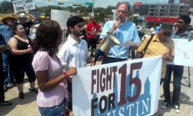 Protesters marched in Austin on Thursday to demand higher wages for fast-food workers.