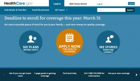 Screenshot from Healthcare.gov earlier in the year.
