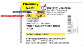 Old labels prominently feature the pharmacy name instead of patient instructions.