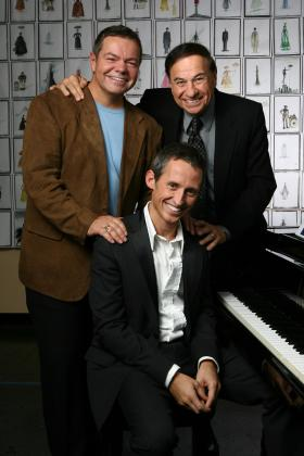 """Mary Poppins"" songwriter Richard Sherman (above right) with new ""Poppins"" songwriters Anthony Drewe and George Stiles (seated)."