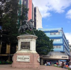 In the Parque Central of Tegucigalpa, the statue of Francisco Morazan, former president of Honduras and the Republic of Central America.