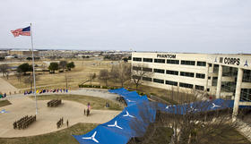 Fort Hood headquarters and main flag pole.