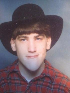 "Sean Yates wearing his favorite ""George Strait"" cowboy hat."