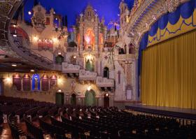 The ornate inside of the Majestic Theatre.