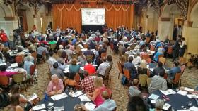 People attended a meeting at Sunset Station to help shape the future Civic Park at Hemisfair.