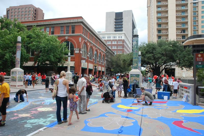 View of Artpace's Chalk It Up on Houston Street downtown on October 8, 2011.