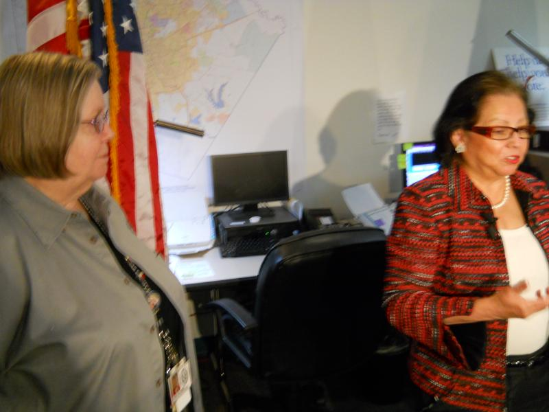 Bexar County Elections Administrator Jacque Callanen (left) is joined by Texas Sec. of State Hope Andrade to encourage voter turnout during early voting.