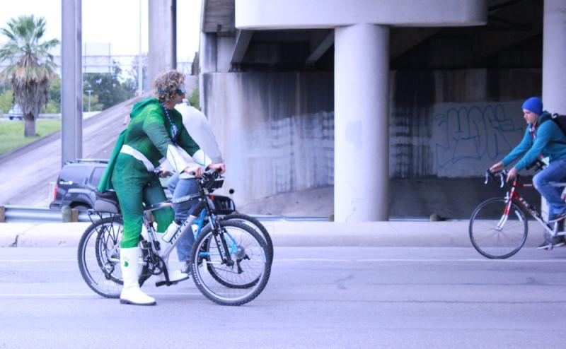 biking in costume