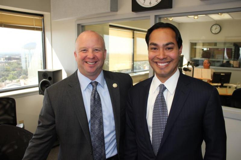 Bexar County Commissioner Kevin Wolff and Mayor Julián Castro are all smiles after debating Pre-K 4 SA in the TPR studios.