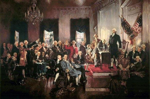 Scene at the Signing of the Constitution of the United States (1940) painting by Howard Chandler Christy.