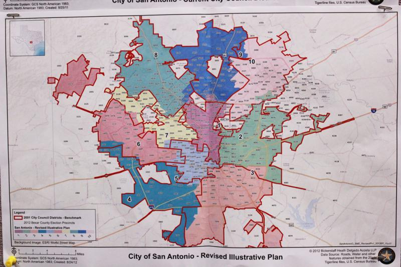 Revised lines for San Antonio City Council Districts.