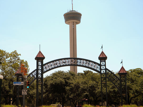 The entrance gate for Hemisfair Park.