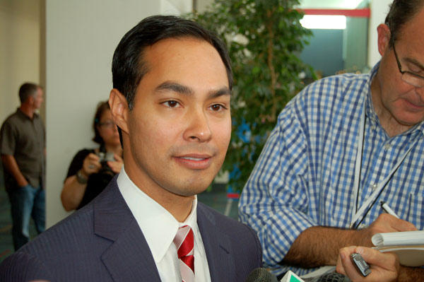 San Antonio Mayor Julián Castro talks to reporters at the Democratic National Convention in Charlotte, N.C.