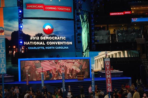 View of the stage inside the Time Warner Cable Arena in Uptown Charlotte during the Democratic National Convention