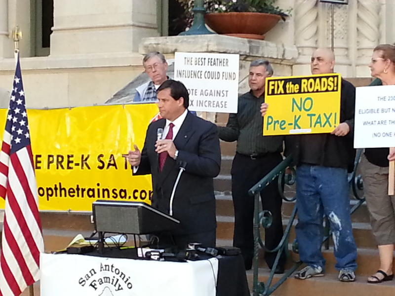 Patrick Von Dohlen with the San Antonio Family Association speaks in protest to Pre-K 4 SA