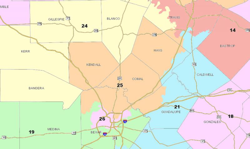 Texas Senate District 25 includes areas of six different counties.