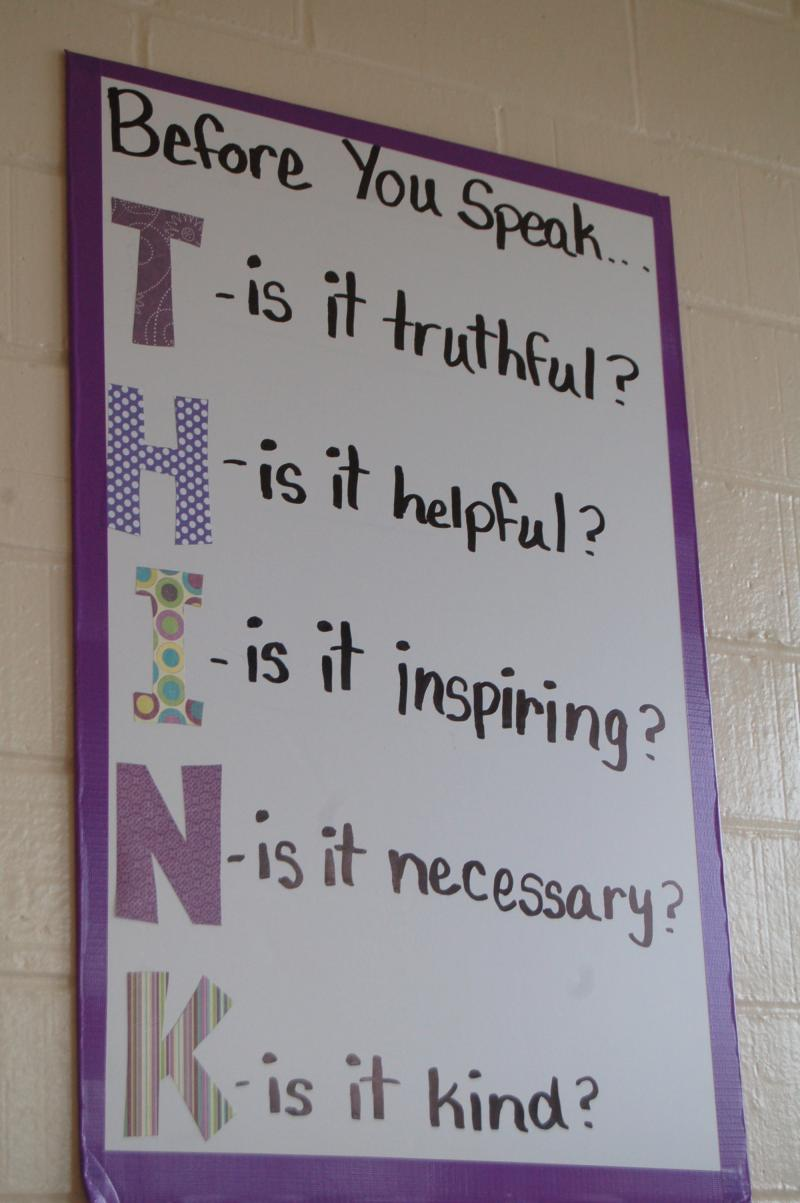 THINK bullying poster at Londfellow Middle School