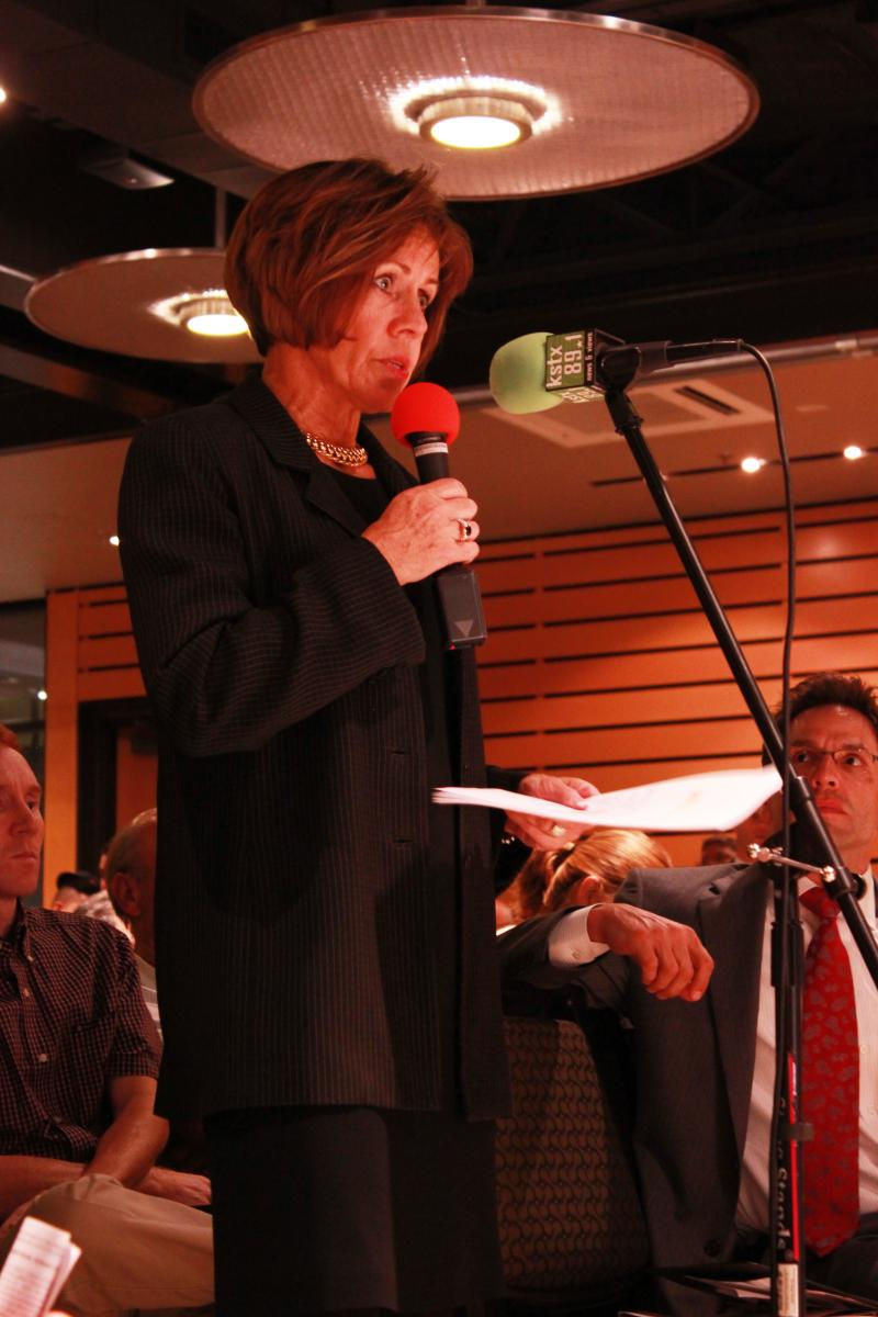 San Antonio City Manager Sheryl Sculley speaks to panelists at a TPR Town Hall meeting held at the Pearl.