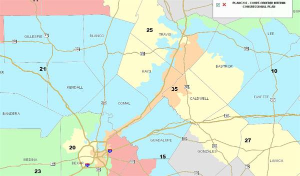 Central Texas Congressional Districts via the Texas Legislative Council's District Viewer. District 35 is the orange area stretching up IH-35.