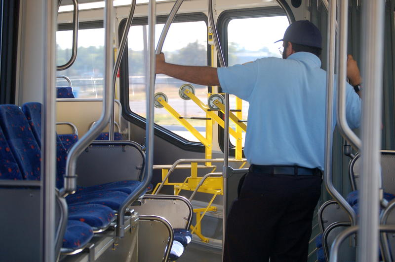 Inside the 60-foot bus, the middle bends to accommodate corners while turning.