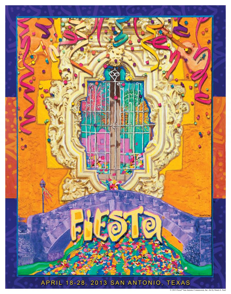 "The official 2013 poster, ""Bridging the Traditions and Cultures of Fiesta,"" by artist Stuart Seal"