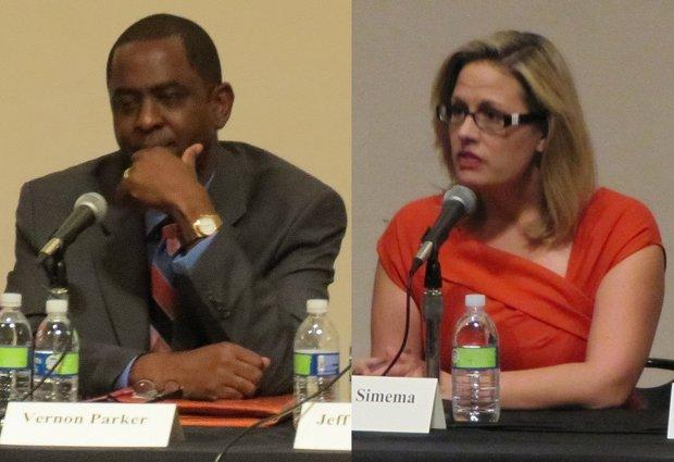 Arizona 9th Congressional District candidates Vernon Parker and Kyrsten Sinema attended separate primary election forums hosted by KJZZ Phoenix over the summer.