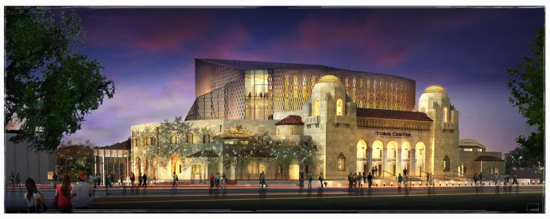 Exterior Rendition of the Tobin Center for the Performing Arts.