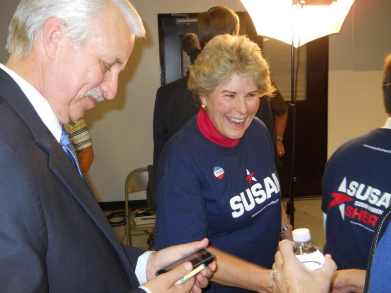 Bexar County Sheriff-Elect Susan Pamerleau shakes hands with a supporter during Election Night 2012 at the Republican Party Headquarters in Bexar County.