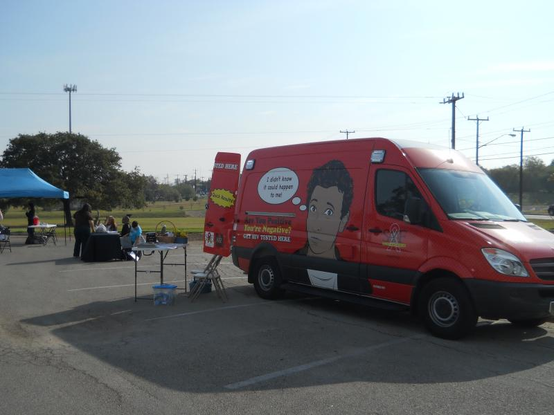 The San Antonio AIDS Foundation's mobile testing unit outside of Monterrey Park on the city's West Side.