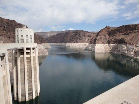 The U.S. stores emergency water for Mexico at Lake Mead, the reservoir behind Hoover Dam near Las Vegas.