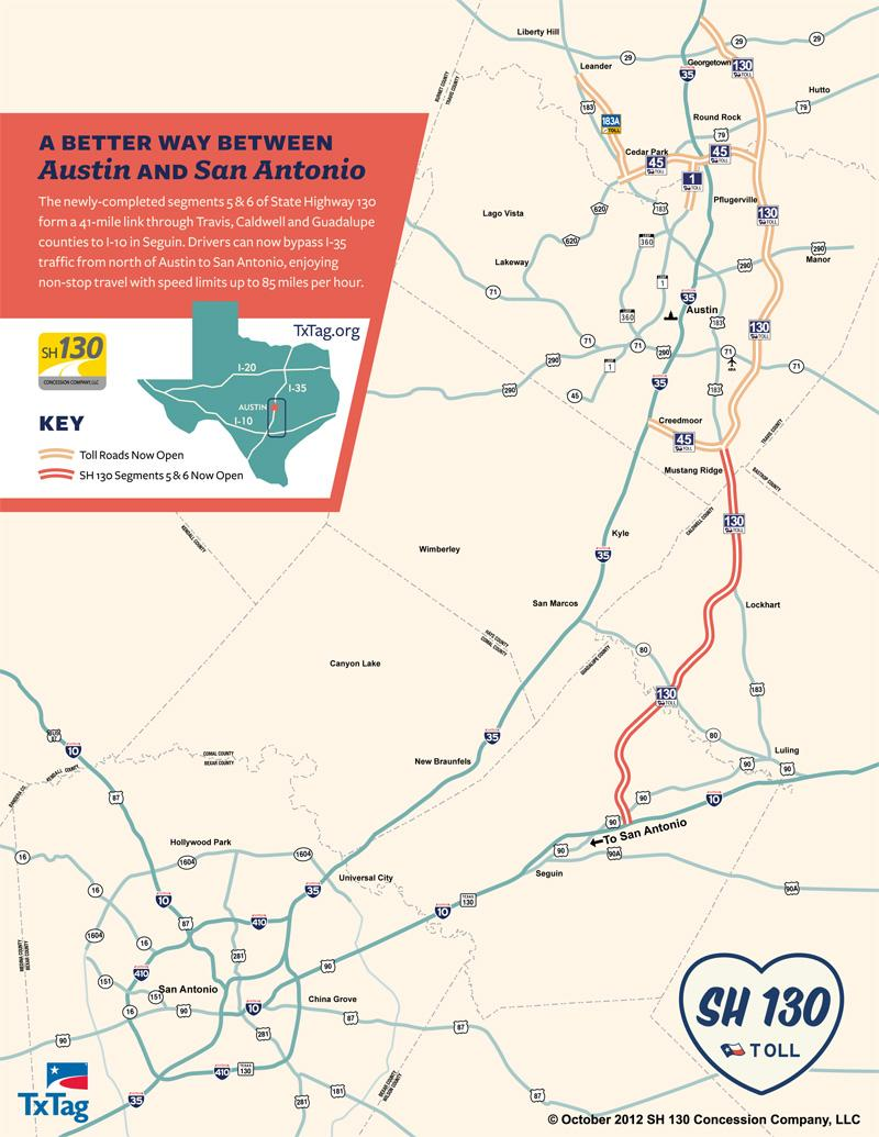 Central Texas Highway map showing how the new SH 130 (red) provides a way around IH-35 traffic.