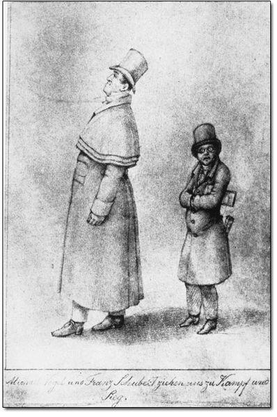 Caricature of singer Johann Michael Vogl (left) and composer Franz Schubert (right). The caption (in German) reads: Michael Vogl and Franz Schubert go out for battle and victory.