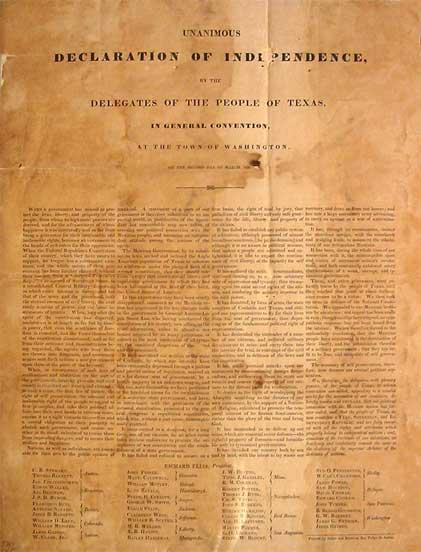 Photograph of the Texas Declaration of Independence taken in 2003 by J. Williams