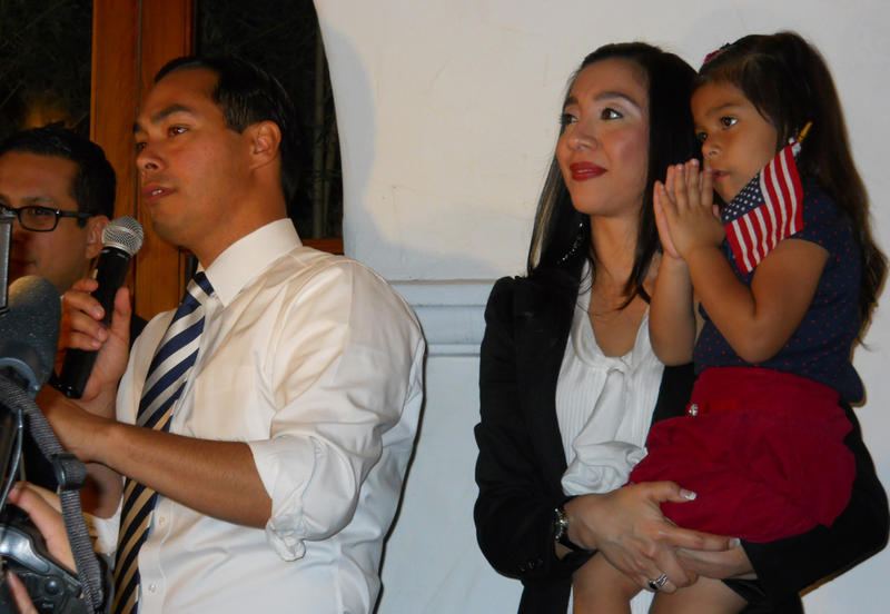 Mayor Julián Castro celebrates the passing of his Pre-K 4 SA referendum with his family on Tuesday night.