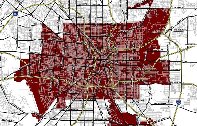 A portion of the Inner City Reinvestment Zone map, which includes the original 36 square miles of the city.
