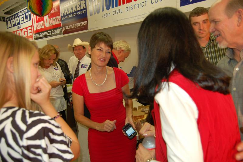 Donna Campbell talks to supporters at the Republican Headquarters in San Antonio Tuesday night