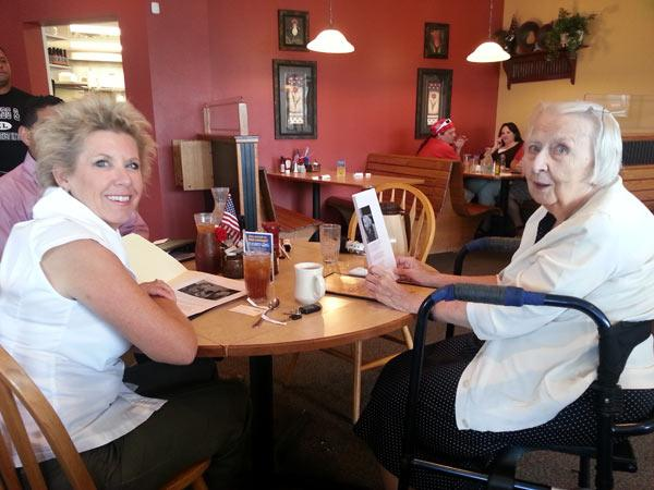 Sue Vara (left) and Lois Lohff enjoy each other's company over a cup of coffee and tea.