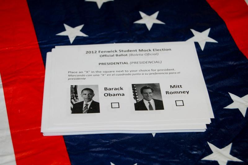 The ballot at Fenwick Elementary School's mock election