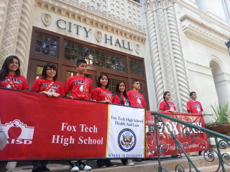 Students walked from Fox Tech through town to City Hall to hear proclamation read by District 1 Councilman Diego Bernal on their Blue Ribbon award achievement