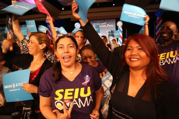 Supporters of President Barack Obama showed their enthusiasm for his reelection at the Nevada Democratic Party's celebration. The event took place at the Mandalay Bay in Las Vegas.