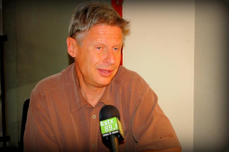 Gary Johnson, Libertarian candidate for president, campaigned in San Antonio and paused to talk about his beliefs and platforms