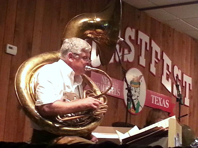 Tuba player George House plays with Cloverleaf Orchestra, the longest-running band at Wurstfest's 51 year history
