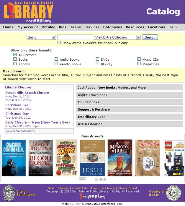 A look at the library's new online layout; notice the New Arrivals window at the bottom of the page that allows you to scroll through book covers.