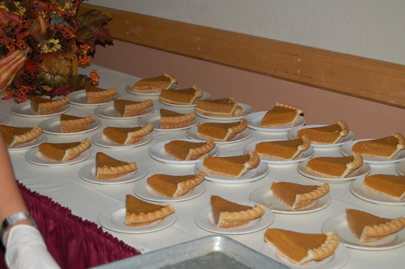 Pumpkin pie desserts at the Thanksgiving celebration at JBSA-Lackland
