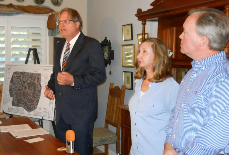 From left to right: Attorney Brad Rockwell, Annalisa Peace of the Greater Edwards Aquifer Alliance and Tom Tobin representing homeowners, give their 60-day notice of intent.