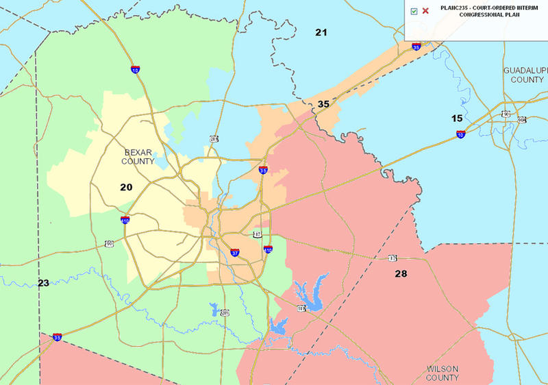 Current San Antonio area Congressional Districts.