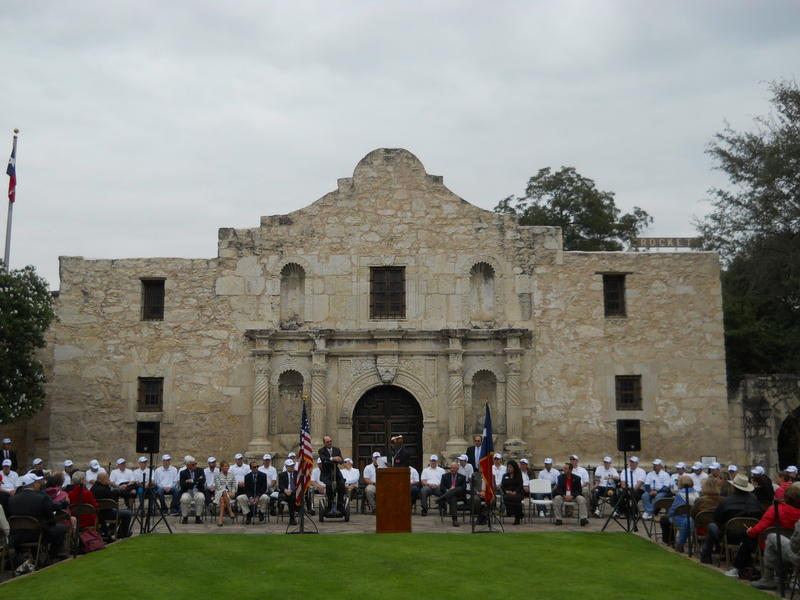 Segs4Vets, who are based in San Antonio, presented 36 Segways on Wednesday outside the Alamo to wounded veterans (seated wearing white shirts).